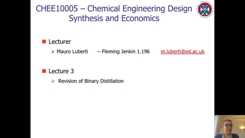 Thumbnail for entry Lecture 3 - Revision of Binary Distillation