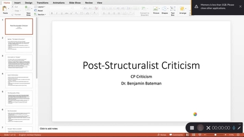 Thumbnail for entry Post-Structuralism 1 (CP Criticism)