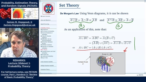 Thumbnail for entry Topic 15: Set theory and its use in Probability Theory (PETARS, Chapter 3)