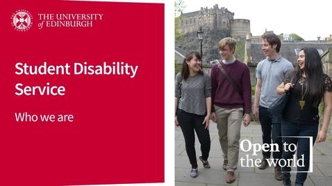 Thumbnail for entry Student Disability Service - Who We Are