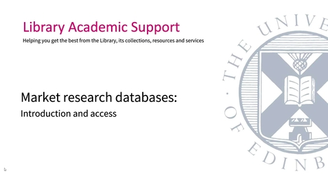 Thumbnail for entry Market research databases: introduction and access