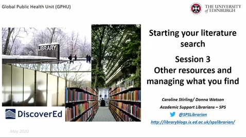 Thumbnail for entry GPHU- Introduction to literature searching - session 3