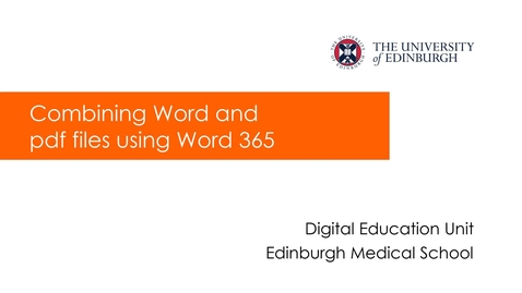 Thumbnail for entry Combining Word and pdf documents in one file in Word 365