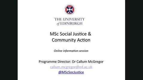 Thumbnail for entry An introduction to Social Justice and Community Action Online Learning Open Days 2020
