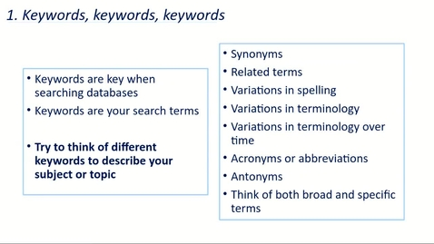 Thumbnail for entry #EdLitSearchTips 2 - Keywords.