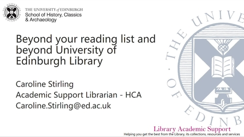 Thumbnail for entry HCA Using the Library for Honours research (3rd year)
