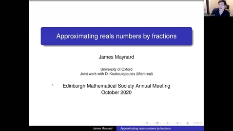 Thumbnail for entry Approximating real numbers by fractions - James Maynard