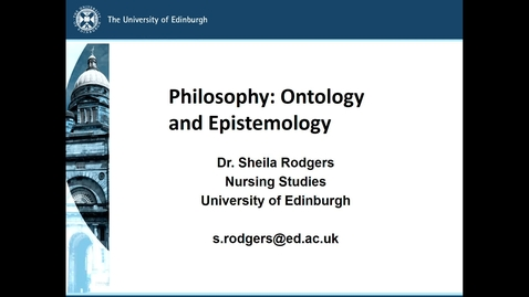 Thumbnail for entry Philosophy: Ontology and Epistemology