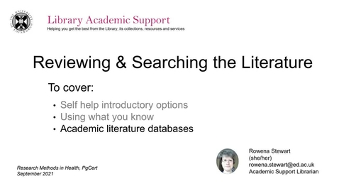 Thumbnail for entry Reviewing and searching the literature 2