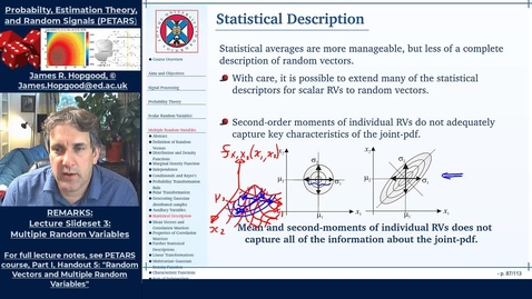 Thumbnail for entry Topic 34: Statistical Description of Random Vectors (PETARS, Chapter 5)