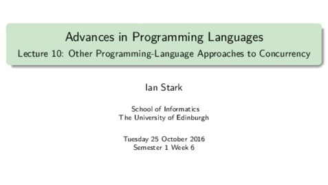 Thumbnail for entry Other Programming-Language Approaches to Concurrency