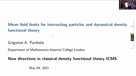Thumbnail for entry Mean field limits for interacting particles and dynamical density functional theory - Greg Pavliotis