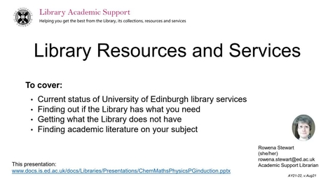 Thumbnail for entry Library Resources and Services - Introduction