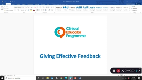 Thumbnail for entry CEP Giving Effective Feedback course: welcome and orientation