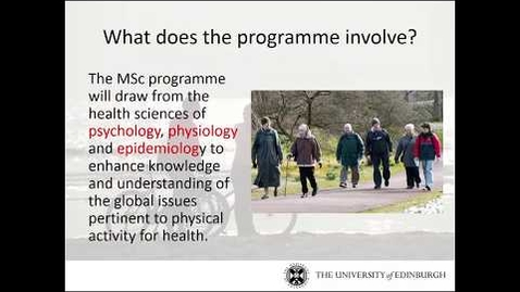 Thumbnail for entry MSc Physical Activity for Health
