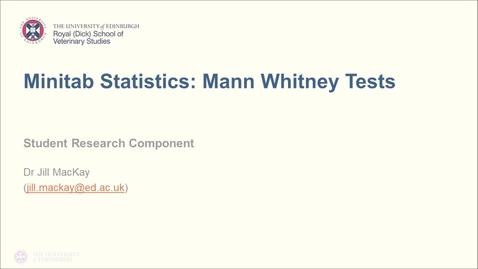 Thumbnail for entry Minitab Statistics: Mann Whitney Test