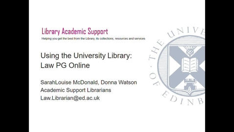 Thumbnail for entry PG Online- Using the University Library, Sept 2020