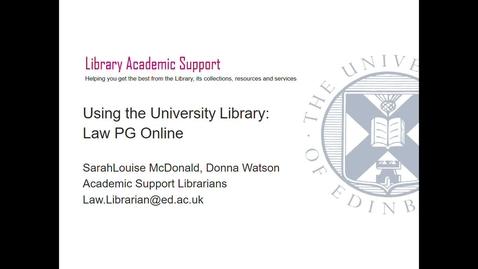 Thumbnail for entry PG Online- Using the University Library, Sept 2020