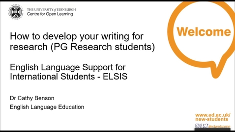 Thumbnail for entry (PGR only) ELSIS: How-to Develop Your Writing for Research
