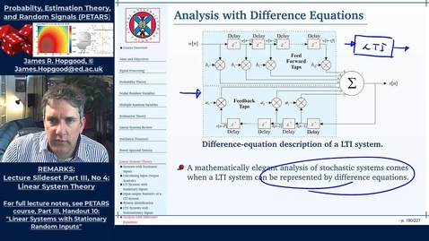 Thumbnail for entry Topic 75: Difference Equation Analysis of Input-Output Time-Domain Statistics (PETARS, Chapter 10)