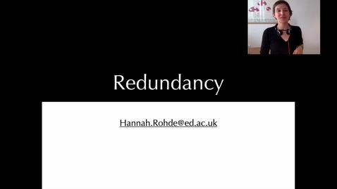 Thumbnail for entry Redundancy