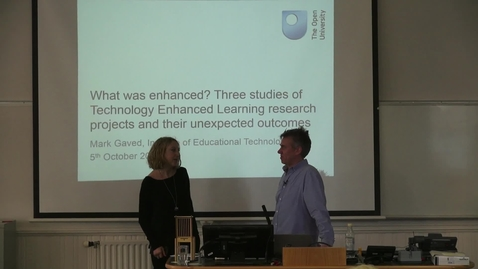 Thumbnail for entry Mark Gaved | What was enhanced? - Three studies of Technology Enhanced Learning research projects and their unexpected outcomes.