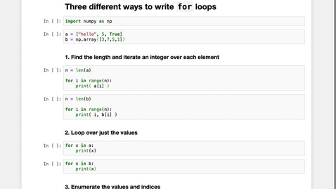 Thumbnail for entry Three different ways to implement  for loops in Python