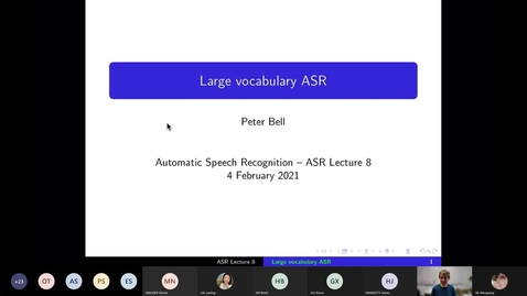 Thumbnail for entry ASR Lecture 8