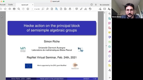 Thumbnail for entry Simon Riche - Hecke action on the principal block of reductive algebraic groups