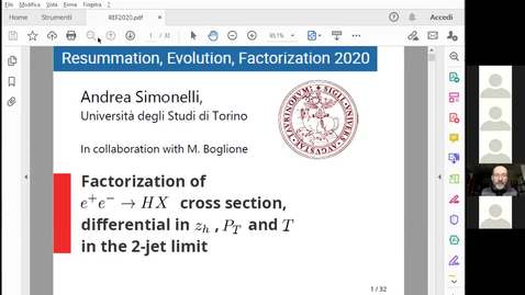 Thumbnail for entry REF: Andrea Simonelli- Factorization of $e^+e^- \to H \, X$ cross section, differential in z, $P_T$  and thrust in the quasi $2$-jet limit