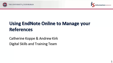 Thumbnail for entry Using EndNote Online to Manage your References Webinar 7-11-17