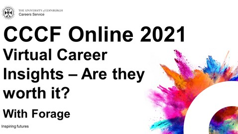 Thumbnail for entry Virtual Career Insights - Are they worth it? (CCCF Online 2021)