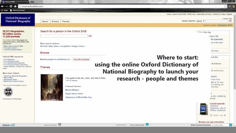 Thumbnail for entry Where to start: using the online Oxford Dictionary of National Biography to launch your research – people and themes
