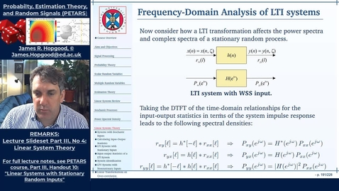 Thumbnail for entry Topic 76: Frequency-domain analysis of input-output statistics (PETARS, Chapter 10)