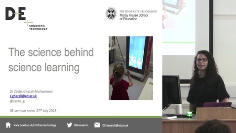 "Thumbnail for entry DE Seminar | Zayba Ghazali-Mohammed ""The science behind science learning"""