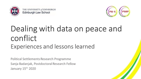 Thumbnail for entry Dealing with data in peace and conflict research