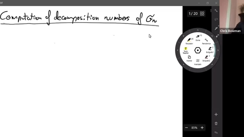 Thumbnail for entry 30 June - Diego Millan Berdasco - On the computation of decomposition numbers of the symmetric group.