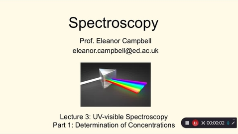 Thumbnail for entry Chem1 Spectroscopy Lecture 3 Part 1