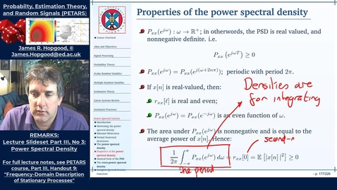 Thumbnail for entry Topic 69: Definition and Properties of the Power-Spectral Density (PETARS, Chapter 9)