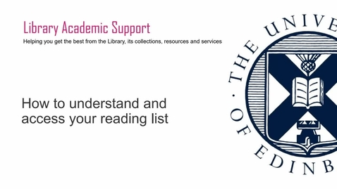Thumbnail for entry (UG/PG) How-to understand and access your reading list