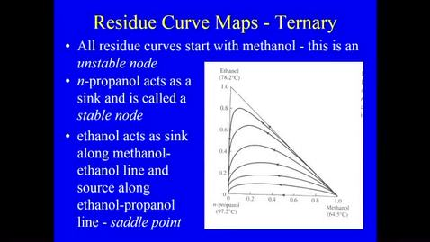 Thumbnail for entry Distillation Lecture 8 - Properties of Residue Curve maps 1