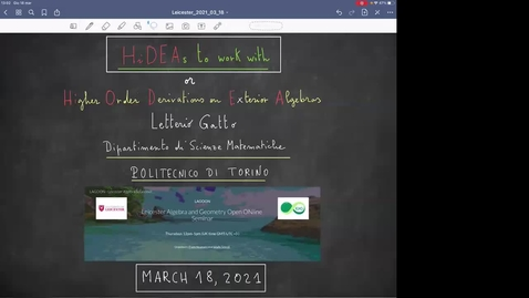 Thumbnail for entry LAGOON: Leicester Algebra and Geometry Open ONline - Letterio Gatto, Polytechnic University of Turin