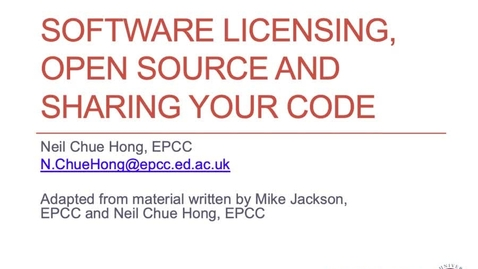 Thumbnail for entry Software Licensing, Open Source and Sharing Your Code