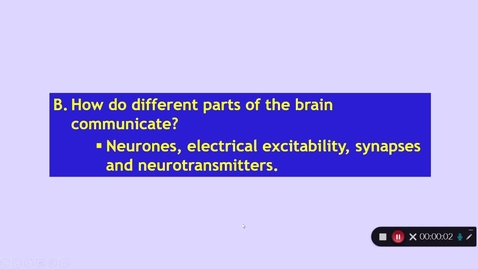 Thumbnail for entry Medical Sciences 1: How does the CNS work? Part 2 Dr Phil Larkman