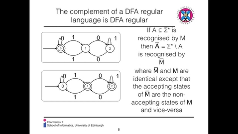 Thumbnail for entry CL - 15b - Boolean operations on DFA-Regular Languages