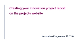 Thumbnail for entry How to create your innovation report