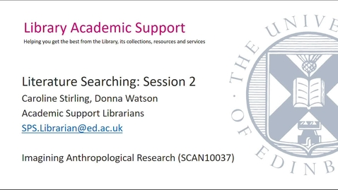 Thumbnail for entry Literature Searching Session 2 (Social Anthropology)