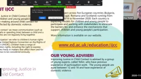 Thumbnail for entry IJCC webinar – Children and Young people's participation is not a project, it's a right!   2nd Nov 2020 (no avatars)