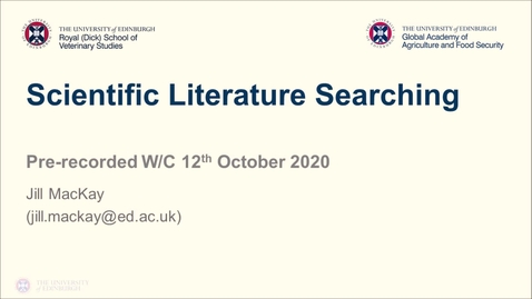 Thumbnail for entry Professional Skills for GAFS (1) - Week 4 - Searching for Scientific Literature
