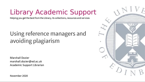 Thumbnail for entry Using reference managers and avoiding plagiarism (MSc Critical Care)
